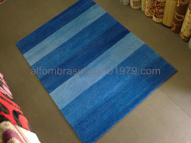 Alfombra lana moderna manual easy azul alfombras baratas moderno - Alfombras de pasillo baratas ...