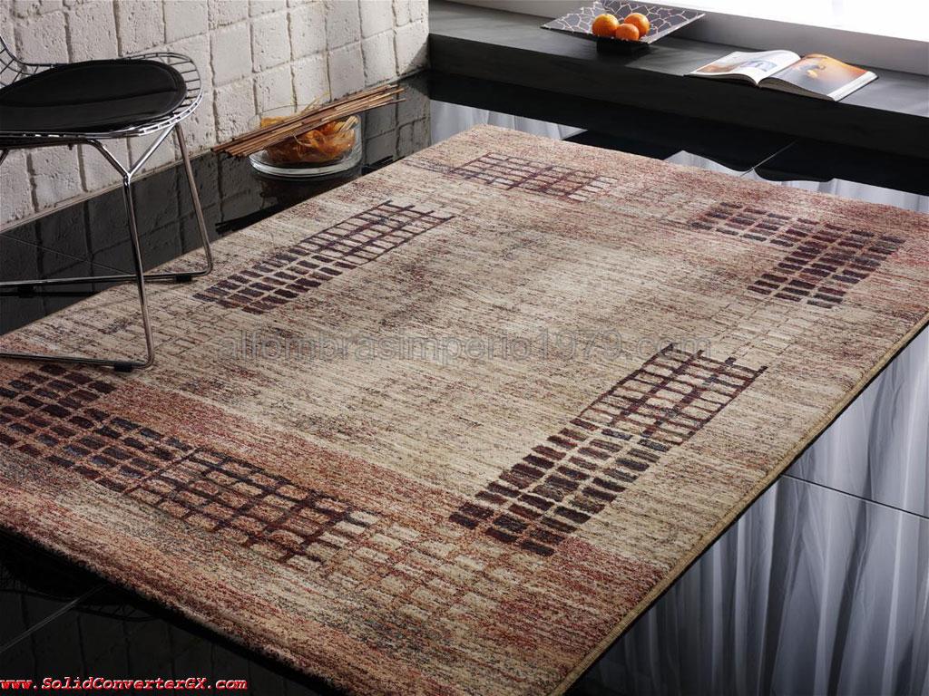 Alfombra lana moderna cuadritos cen 2216 alfombras for Alfombras redondas modernas