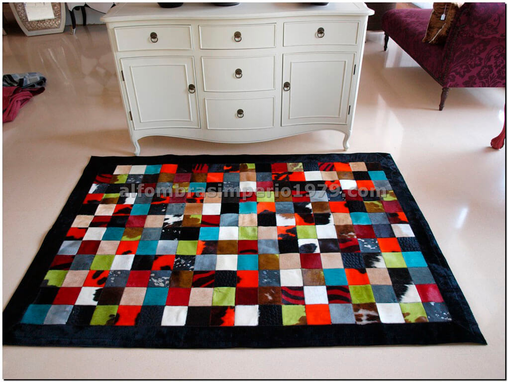 Patchwork piel multi color 10x10 conbord alfombras de for Precio de alfombras