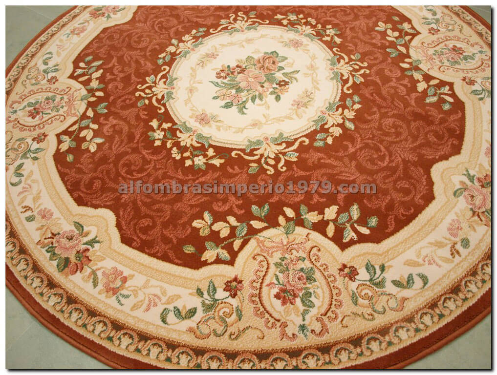 Alfombra redonda de lana clasica clara salmon alfombras - Alfombras redondas ...