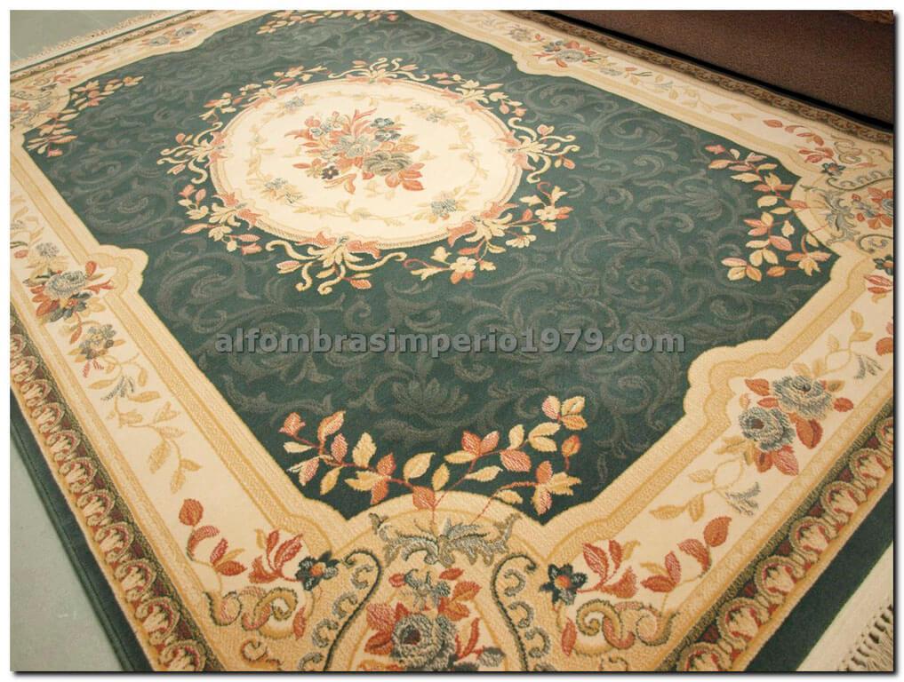 Alfombra de lana clasica clara verde alfombras clasicas for Alfombra redonda verde