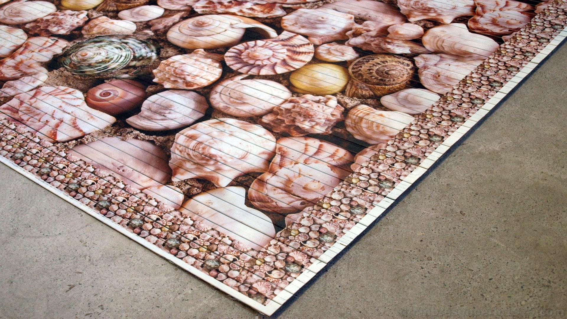Alfombra alfombra bambu impreso caracolas alfombras a medida - Alfombras de bambu baratas ...