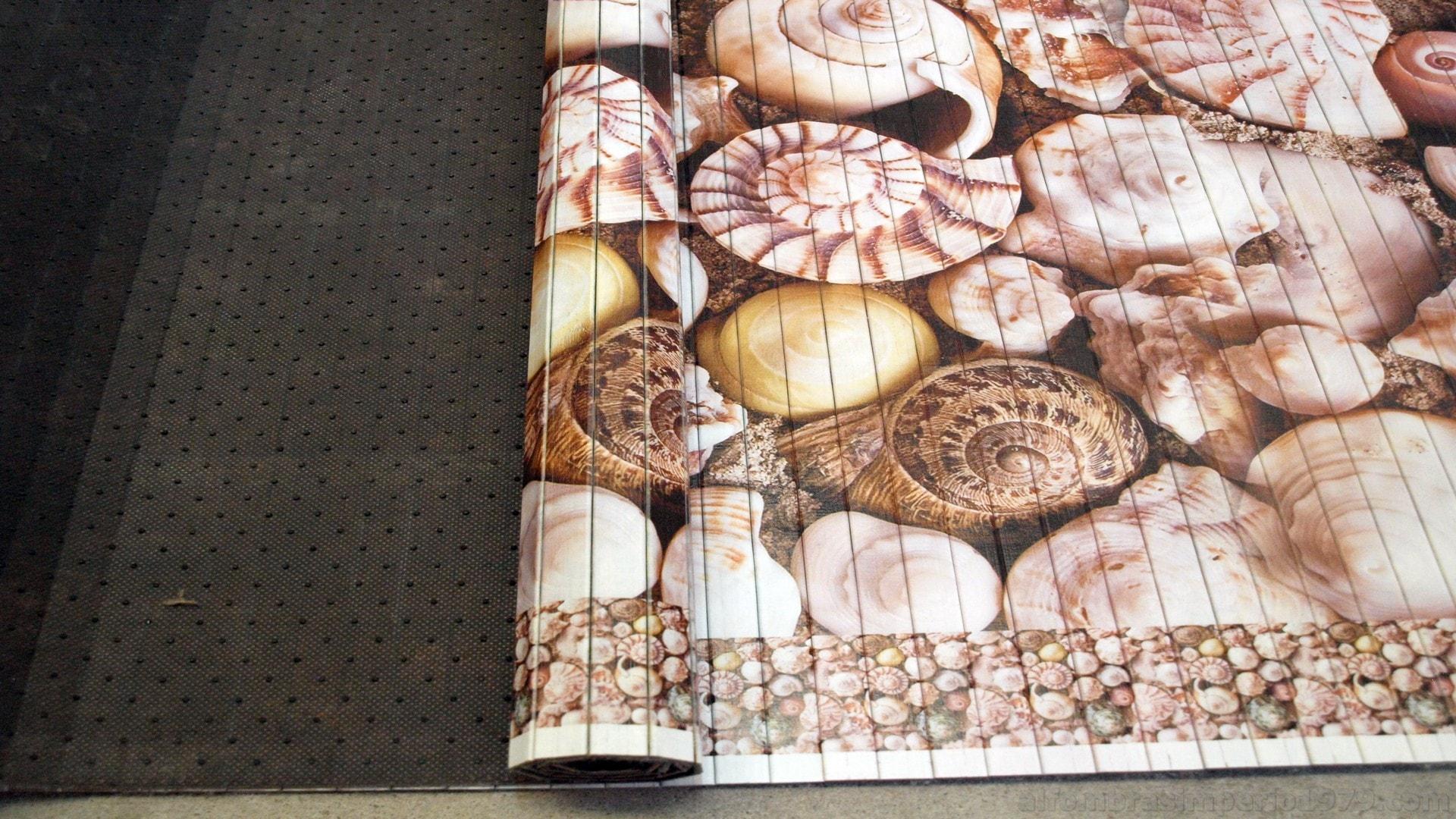 Alfombra fina bambu impreso caracolas alfombras modernas - Alfombras de bambu ...