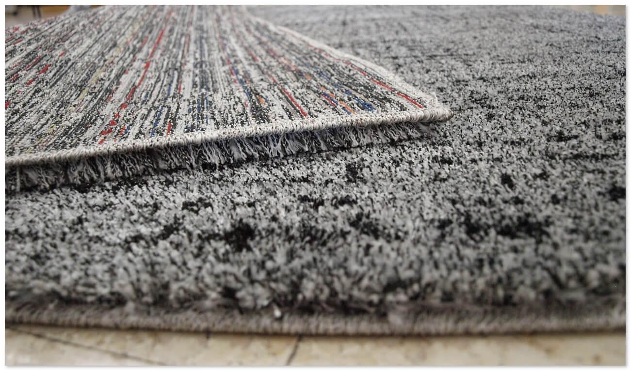 Alfombra moderna yosefine gris alfombras baratas moderno for Alfombras redondas modernas