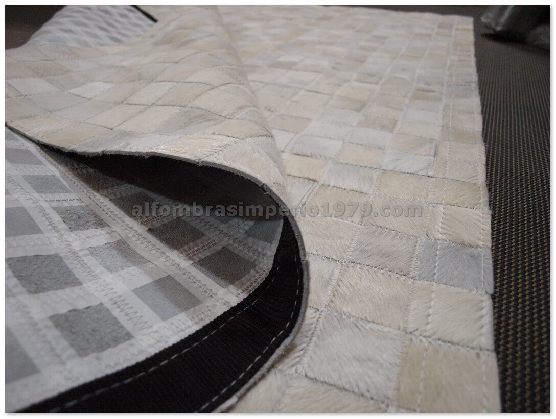Alfombra piel patchwork blanca 5x5cm alfombras de piel - Alfombras de piel baratas ...