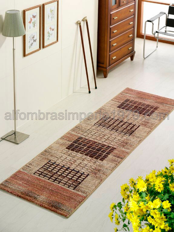 Alfombra lana moderna pasillo cuadritos 2209 alfombras - Alfombras para pasillos modernas ...