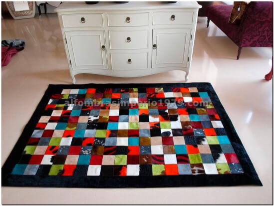 Patchwork piel multi color 10x10 conbord alfombras de - Alfombras de piel baratas ...