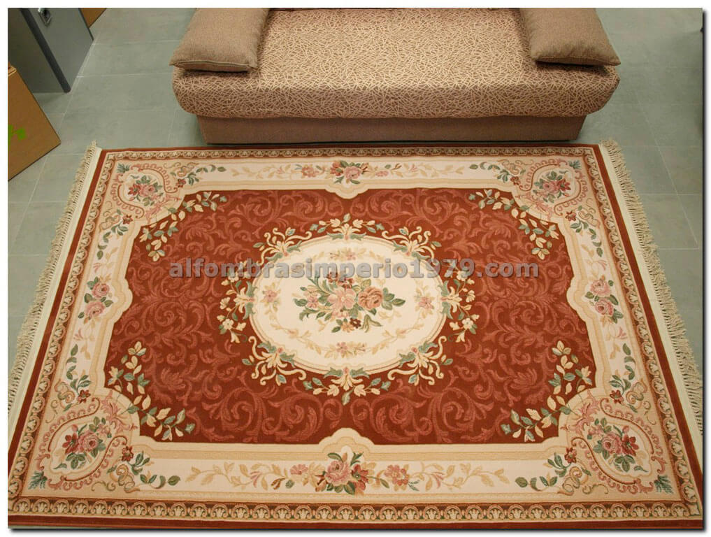 Alfombra redonda de lana clasica clara salmon alfombras - Alfombras de crevillente ...
