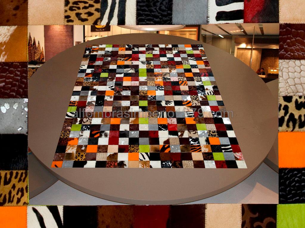 Alfombra de piel patchwork multi 1 10x10 sinbor alfombras de piel - Alfombras patchwork baratas ...