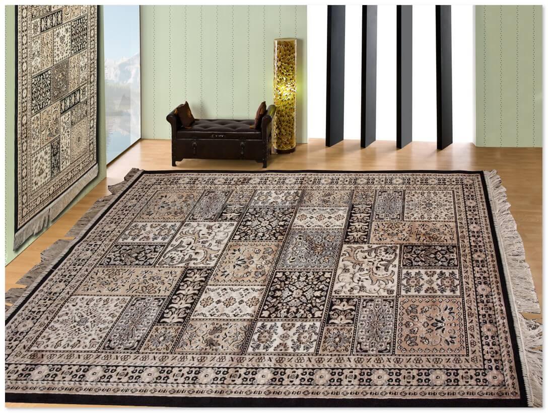 Alfombra clasica finas belgim 4796 negro alfombras for Alfombras clasicas baratas